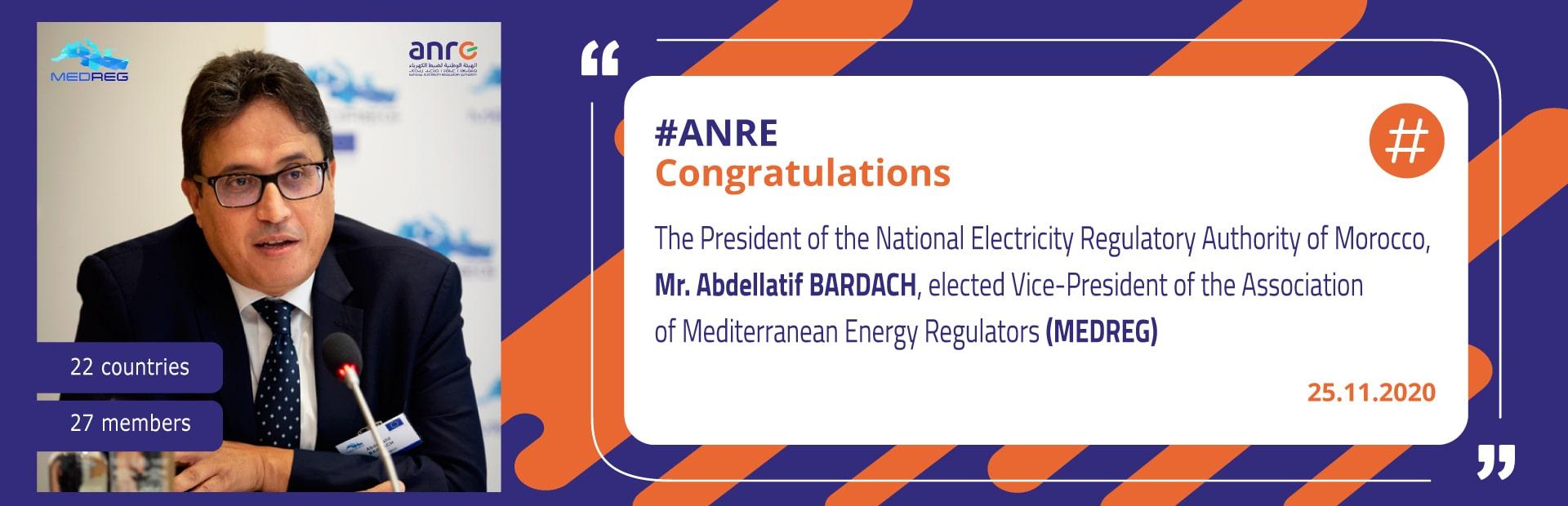 Election de M. Abdellatif BARDACH au poste de Vice-président de l'Association des régulateurs méditerranéens de l'énergie – MEDREG